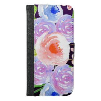 Funda Cartera Para iPhone 6/6s Plus Flores bonitas florales de la acuarela púrpura