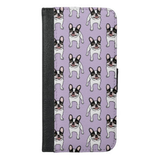 Funda Cartera Para iPhone 6/6s Plus Frenchie de varios colores encapuchado doble feliz