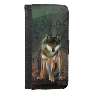 Funda Cartera Para iPhone 6/6s Plus Lobo impresionante en fondo del vintage