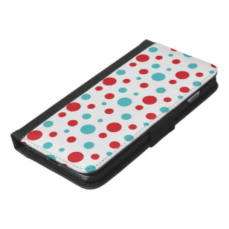 Funda Cartera Para iPhone 6/6s Plus Lunares rojos y azules