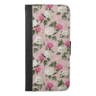 Funda Cartera Para iPhone 6/6s Plus Modelo inconsútil floral del Hydrangea rosado