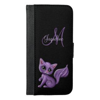 Funda Cartera Para iPhone 6/6s Plus Monograma púrpura del gatito