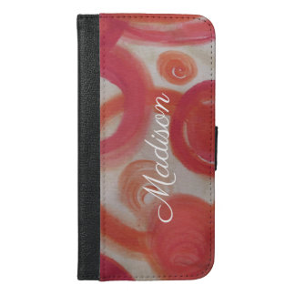 Funda Cartera Para iPhone 6/6s Plus Rosa y pintura abstracta anaranjada