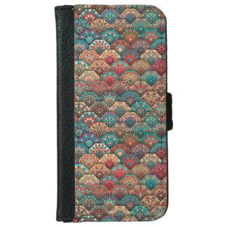 Funda Cartera Para iPhone 6/6s Remiendo del vintage con los elementos florales de