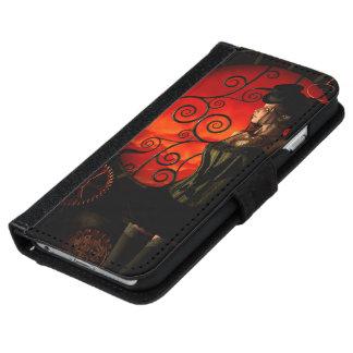 Funda Cartera Para iPhone 6/6s Steampunk, señora maravillosa del steampunk en la