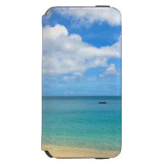 Funda Cartera Para iPhone 6 Watson Agua tropical de la turquesa con un yate de la