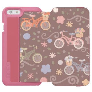 Funda Cartera Para iPhone 6 Watson Bicicleta y flores retras