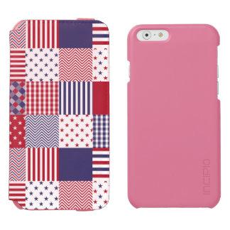 Funda Cartera Para iPhone 6 Watson Blanco del remiendo americana de los E.E.U.U. y