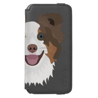 Funda Cartera Para iPhone 6 Watson Border collie feliz de la cara de los perros del