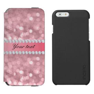 Funda Cartera Para iPhone 6 Watson Brillo rosado Bokeh y diamantes personalizados