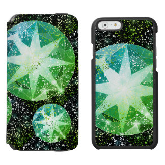 Funda Cartera Para iPhone 6 Watson Chispa verde del oro del diamante artificial de la