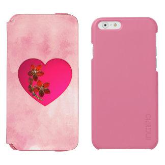 Funda Cartera Para iPhone 6 Watson Corazón rosado Bejeweled en acuarela rosada