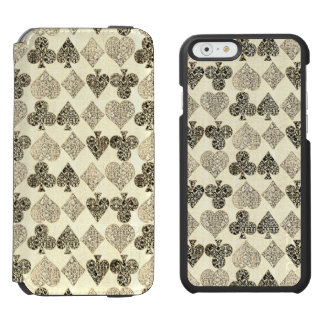 Funda Cartera Para iPhone 6 Watson Diamante beige Antiqued envejecido del corazón del