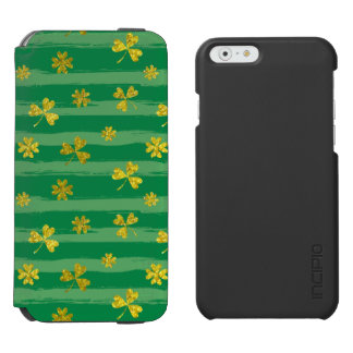 Funda Cartera Para iPhone 6 Watson El verde de oro del trébol de St Patrick raya el
