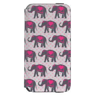 Funda Cartera Para iPhone 6 Watson Elefantes de rosas fuertes grises bonitos en