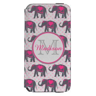 Funda Cartera Para iPhone 6 Watson Elefantes de rosas fuertes grises en los lunares