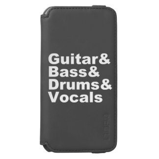 Funda Cartera Para iPhone 6 Watson Guitar&Bass&Drums&Vocals (blanco)