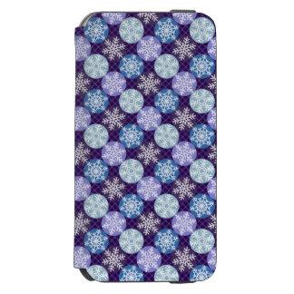 Funda Cartera Para iPhone 6 Watson Invierno geométrico púrpura y azul de los copos de