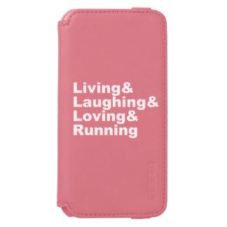 Funda Cartera Para iPhone 6 Watson Living&Laughing&Loving&RUNNING (blanco)