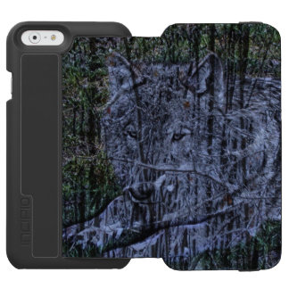 Funda Cartera Para iPhone 6 Watson Lobo gris del camuflaje de la fauna salvaje del