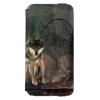 Funda Cartera Para iPhone 6 Watson Lobo impresionante en fondo del vintage