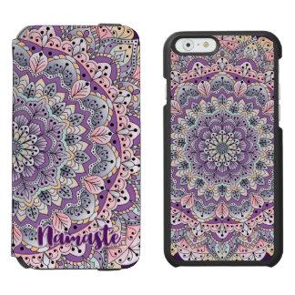 Funda Cartera Para iPhone 6 Watson Mandala floral rosada de Namaste y púrpura linda