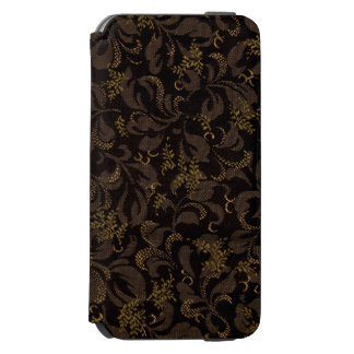 Funda Cartera Para iPhone 6 Watson Mirada del bordado de Brown