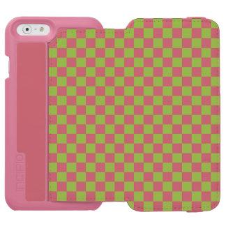 Funda Cartera Para iPhone 6 Watson Modelo del tablero de damas del verde amarillo
