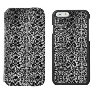 Funda Cartera Para iPhone 6 Watson Modelo envejecido damasco blanco viejo del negro