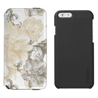 Funda Cartera Para iPhone 6 Watson Modelo floral beige de las vides del Victorian del