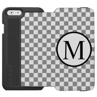 Funda Cartera Para iPhone 6 Watson Monograma simple con el tablero de damas gris