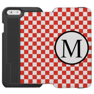 Funda Cartera Para iPhone 6 Watson Monograma simple con el tablero de damas rojo