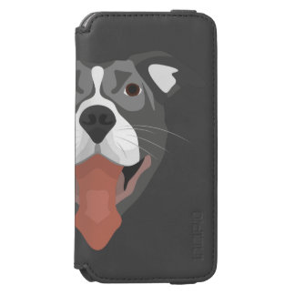 Funda Cartera Para iPhone 6 Watson Perro Pitbull sonriente del ilustracion