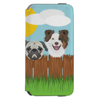 Funda Cartera Para iPhone 6 Watson Perros afortunados del ilustracion en una cerca de