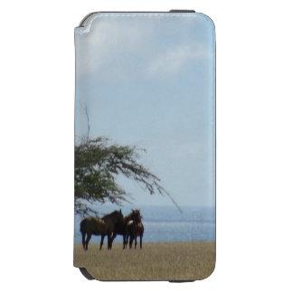 Funda Cartera Para iPhone 6 Watson Playa tropical con los caballos que hojean en la