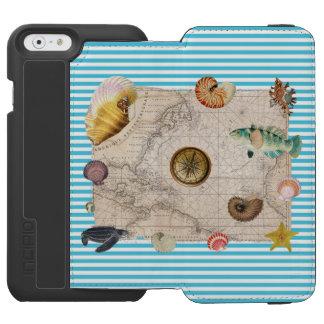 Funda Cartera Para iPhone 6 Watson Rayas azules del tesoro marino