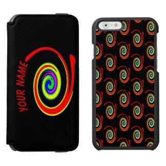 Funda Cartera Para iPhone 6 Watson Remolino multicolor. Añada su texto