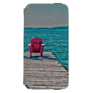 Funda Cartera Para iPhone 6 Watson sillas de playa en muelle en la cabaña