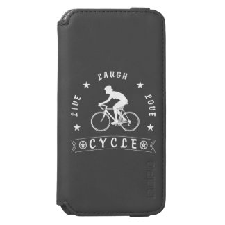 Funda Cartera Para iPhone 6 Watson Texto de Live Laugh Love Cycle de señora (blanco)