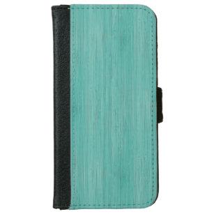 6e56cd67908 Funda Cartera Para iPhone 6/6s Mirada de madera de bambú del grano del  Aquamarine