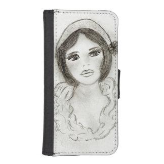 Funda Cartera Para iPhone SE/5/5s Chica rizado de la aleta