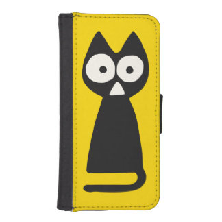 Funda Cartera Para iPhone SE/5/5s Gato simbólico del triángulo negro amarillo