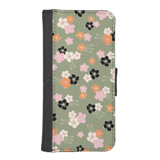 Funda Cartera Para iPhone SE/5/5s Green orange black hawaiian flowers exotic pattern