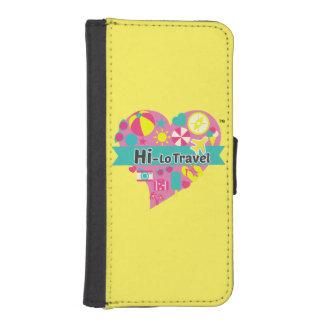 Funda Cartera Para iPhone SE/5/5s Hola-Lo tenedor de IPhone del viaje - amarillo
