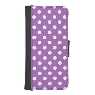 Funda Cartera Para iPhone SE/5/5s Modelo de lunar púrpura y blanco