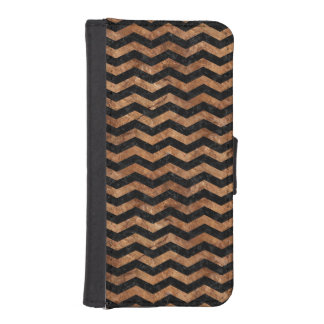 FUNDA CARTERA PARA iPhone SE/5/5s PIEDRA NEGRA DEL MÁRMOL CHEVRON3 Y DE BROWN