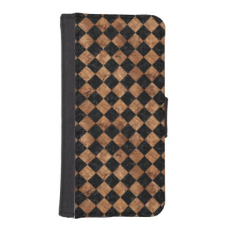 FUNDA CARTERA PARA iPhone SE/5/5s PIEDRA NEGRA DEL MÁRMOL SQUARE2 Y DE BROWN