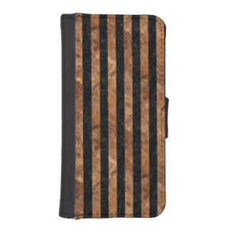 FUNDA CARTERA PARA iPhone SE/5/5s PIEDRA NEGRA DEL MÁRMOL STRIPES1 Y DE BROWN