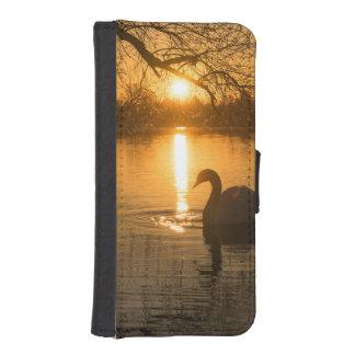 Funda Cartera Para iPhone SE/5/5s Puesta del sol con el cisne