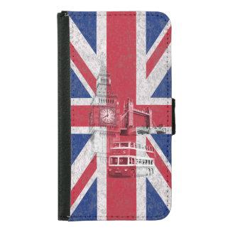 Funda Cartera Para Samsung Galaxy S5 Bandera y símbolos de Gran Bretaña ID154